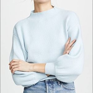 Line & Dot Ribbed Funnel Neck Sweater Mint